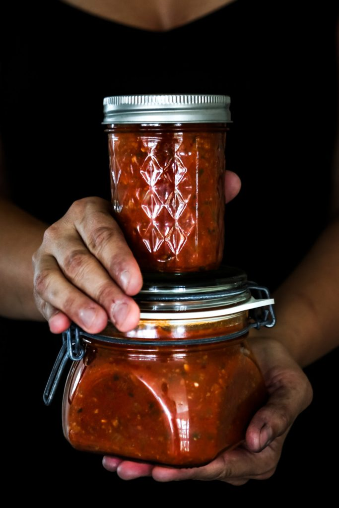bolognese filled in glass jars