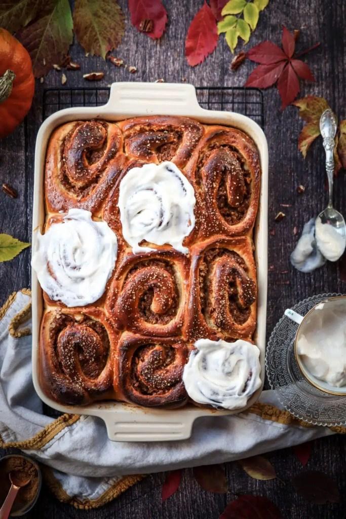 Baking tray full of cinnamon brioche rolls / fall baking / brioche dough recipes