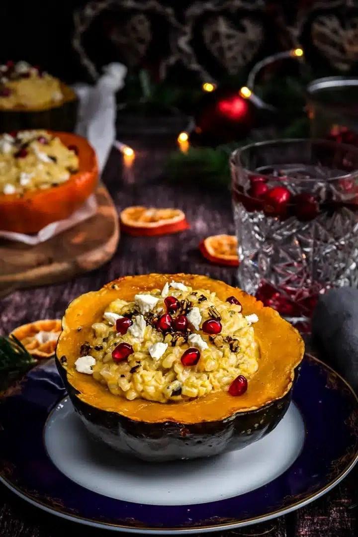 vegetarian pumpkin risotto recipe, christmas dinner ideas