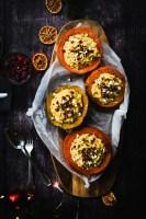pumpkin risotto pumpkins on a wooden plate, holiday dinner ideas , vegetarian main course , christmas dinner recipes