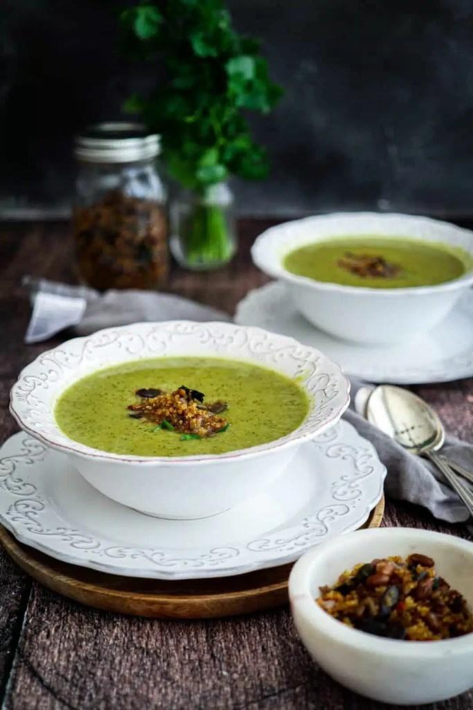 Broccoli Soup with Garlic Quinoa Crunch