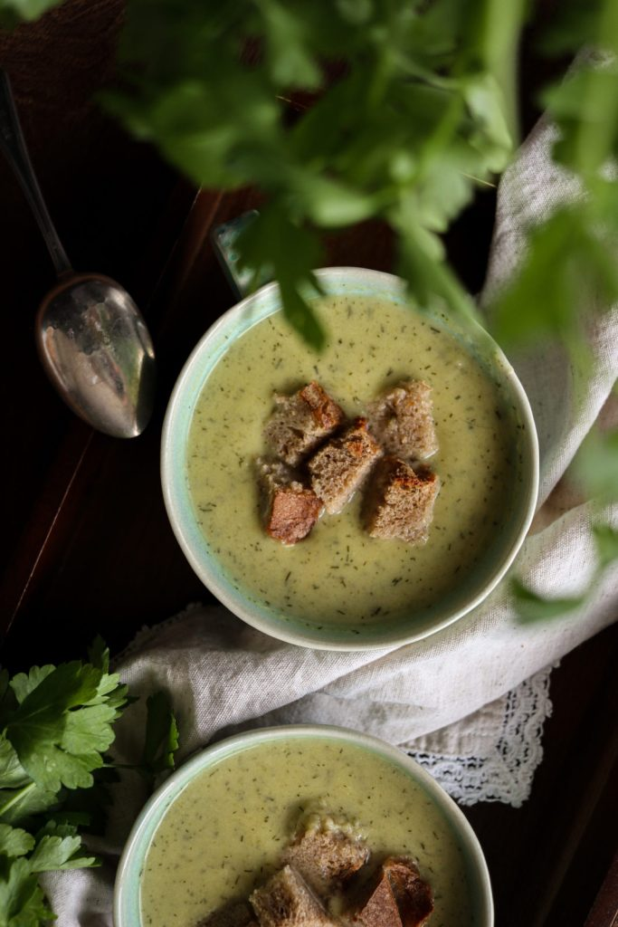 Easy Celery Soup served in two blue tea cups