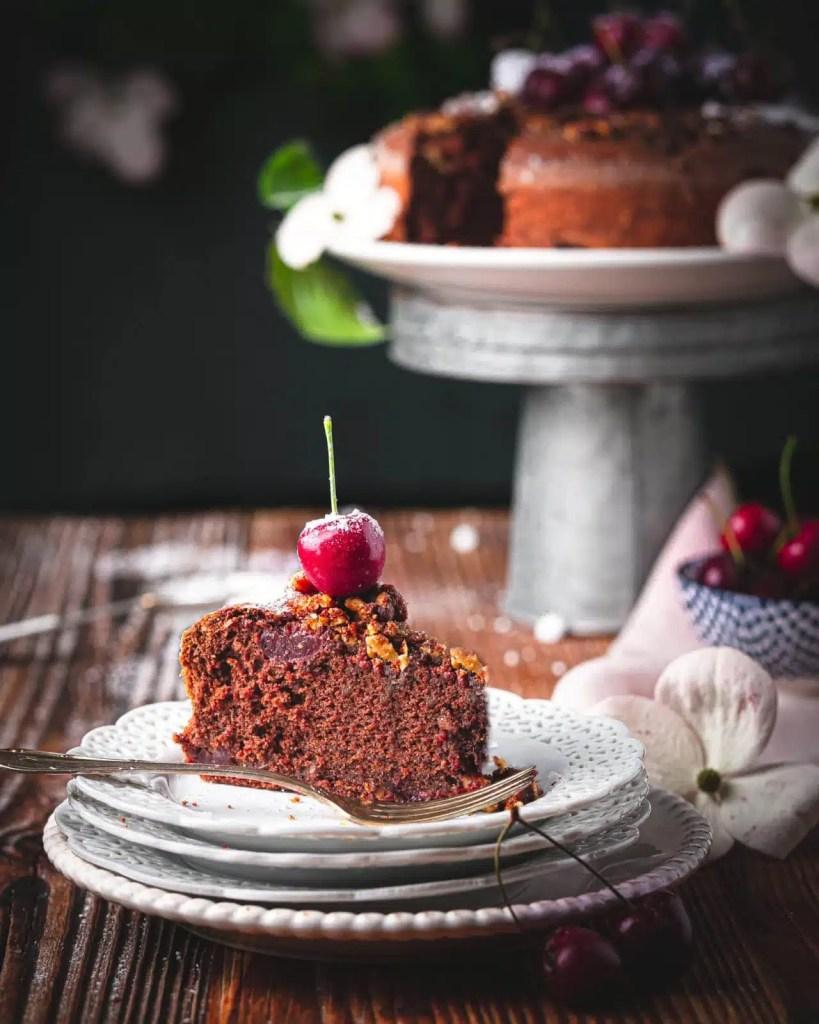 fudgy chocolate cherry cake recipe, sourdough discard