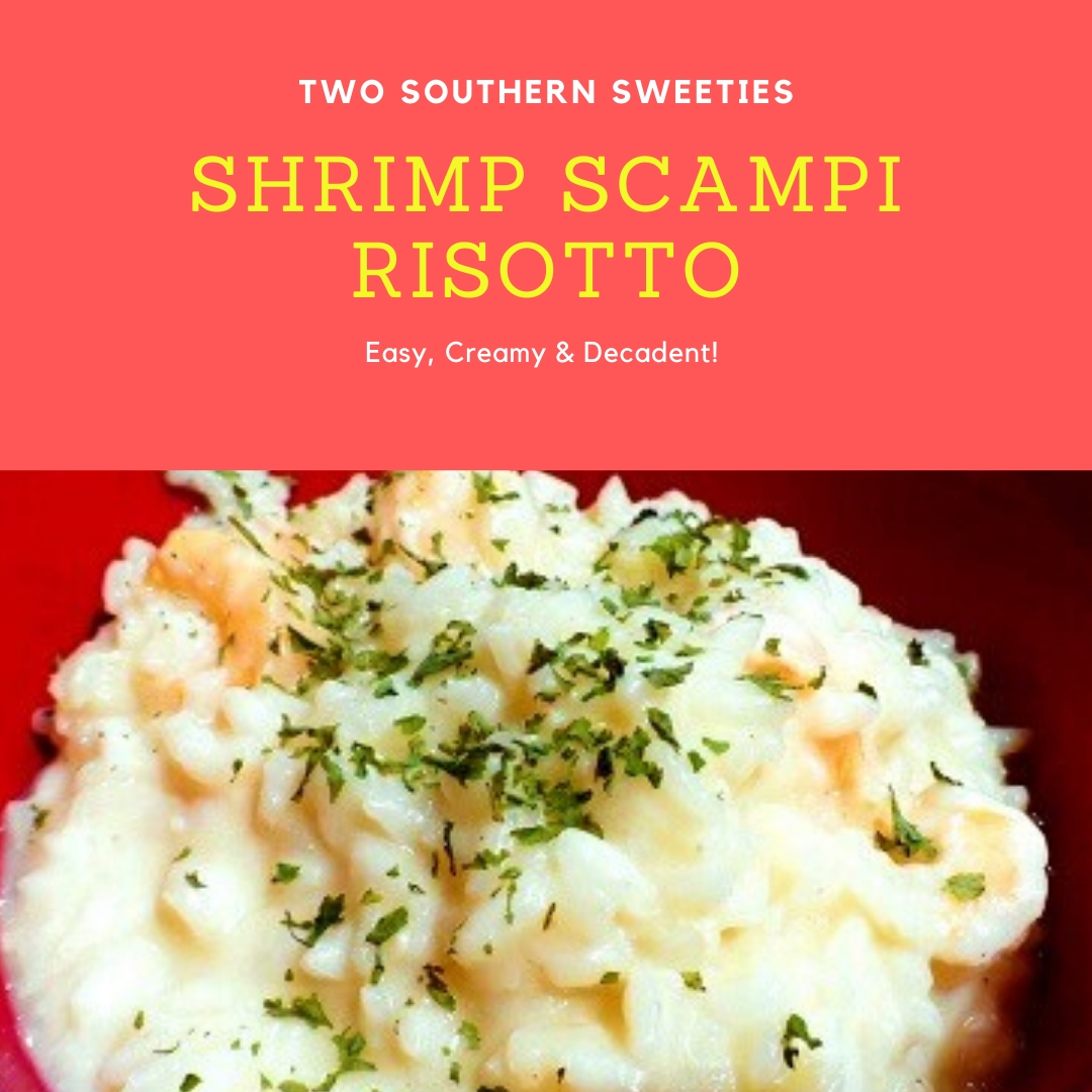 Shrimp Scampi Risotto is super easy, warm, creamy decadent comfort food. Perfect for a meal or as a side dish. Rice | Risotto | Simple Risotto | Arborio | Italian Food | Italian Recipes | #risotto #italianrecipes