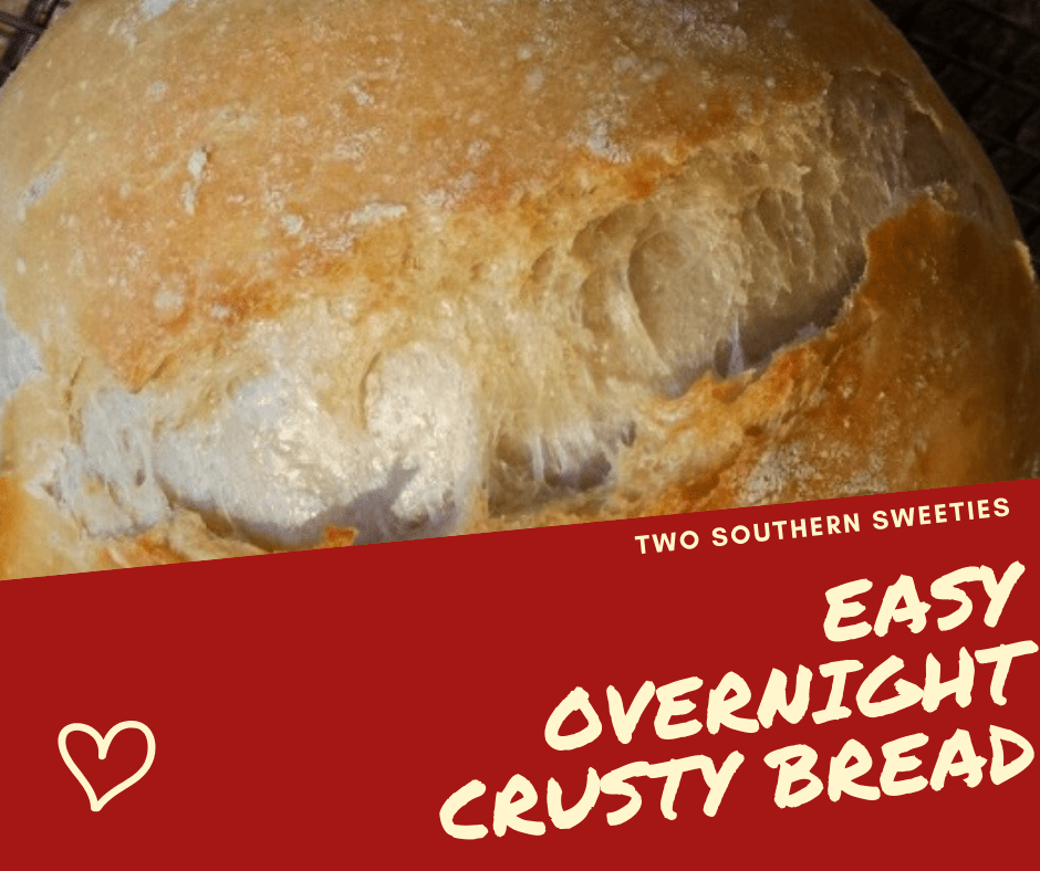 This easy overnight crusty bread is very forgiving. Do not be intimidated, this is an easy bread to make.