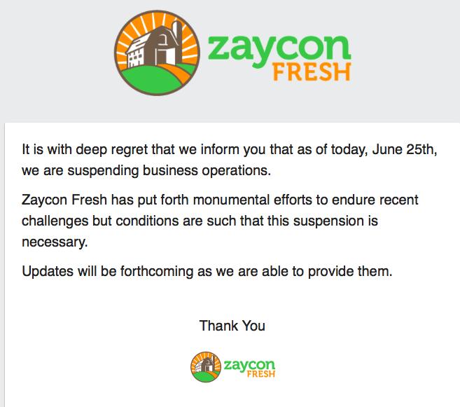 Zaycon Suspended