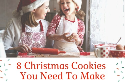 We took some time to compile a list of the 8 Christmas Cookies you need to make so that you didn't have to go searching. Now you have them all here in one place. Gingersnaps, macaroons, stained glass candy, pizzelles, butter ball cookies, fruity cookies, snickerdoodles, spritz cookies #christmas #cookies