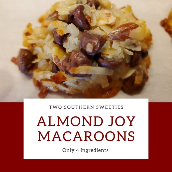 Almond Joy Macaroons - Coconut, Chocolate and Nuts! What could be better? So simple, just 4 ingredients and a marvelous yummy treat Christmas Cookies #christmas #cookies