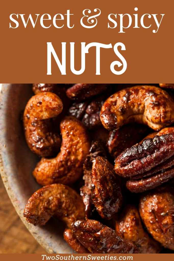 Sweet, spicy and nuts! Those are 3 of my favorite things! Quick, easy recipe for sweet and spicy candied nuts with the perfect touch of heat. Stop wasting money buying candied nuts when you can make them for less. These are great for homemade Christmas gifts, hostess gifts and holiday cocktail parties. #nuts #christmasrecipes #appetizers