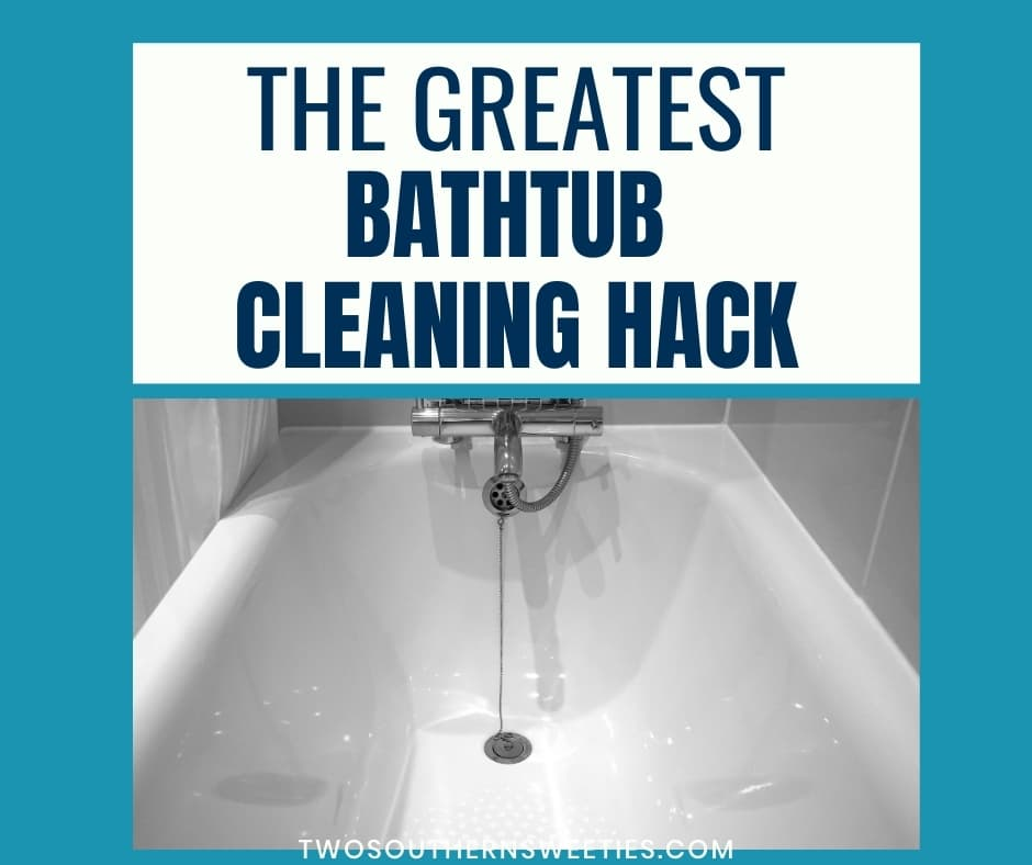 The Greatest Bathtub Cleaning Hack - Is your bathtub dirty and in need of some serious cleaning hacks and tips? Discover how to clean your dirty bathtub, remove soap scum, and to reveal a beautiful tub. Without breaking your back! #howtoclean #cleaningtips #cleaninghacks #cleaning #bathtubcleaninghack