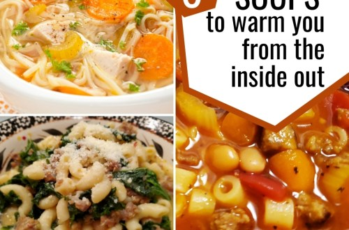 we have given you the recipe for 6 soups that will definitely give you that warm cozy happy feeling inside. Homemade Chicken Soup, Instant Pot Split Pea and Ham Soup, Vegetable Soup, Better Than Olive Garden Pasta Fagioli, Cheddar Bacon Ranch Potato Chicken Chowder #soup #soups #instantpot #crockpot #slowcooker