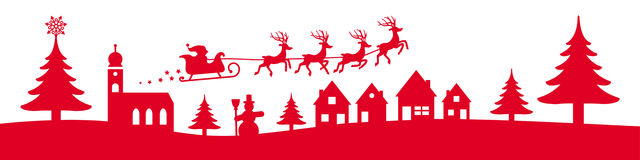 winter christmas banner red
