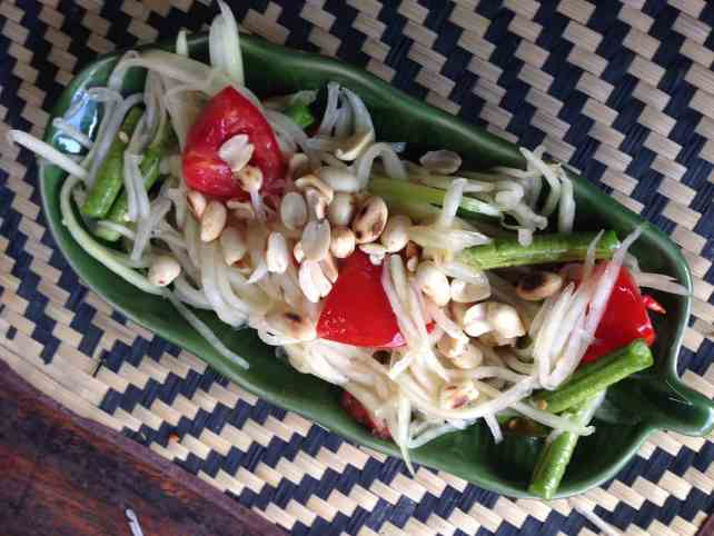 """Papaya salad that we made in our class - """"Quick Trip to Chiang Mai Thailand"""" - Two Traveling Texans"""