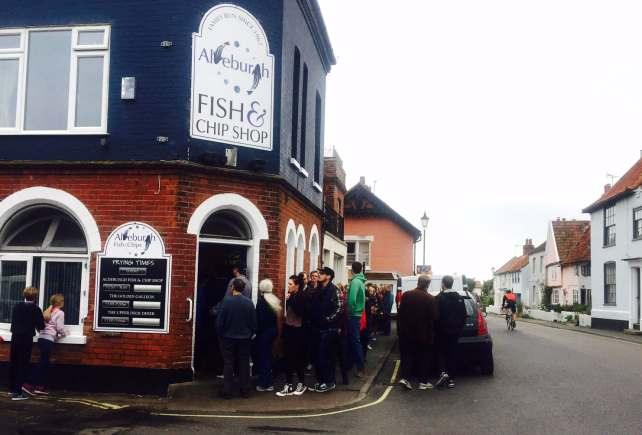 The line for the Fish & Chip Shop