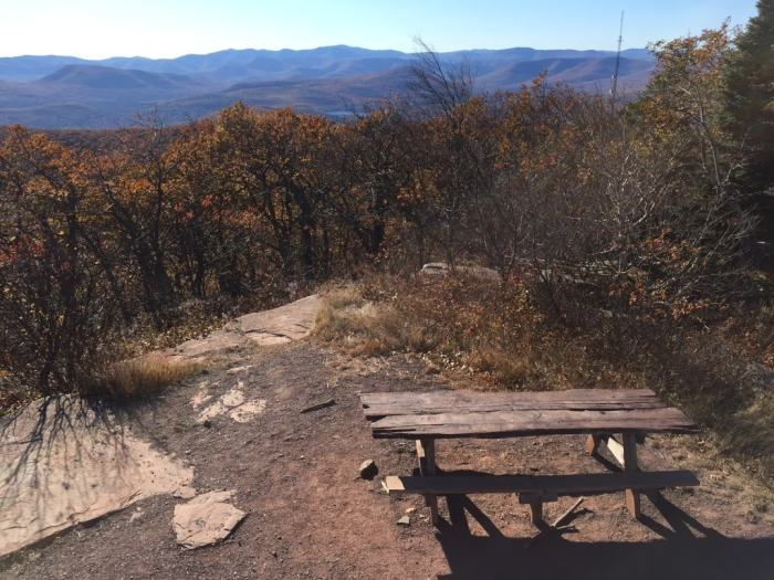 A picnic table on the top of Overlook Mountain.