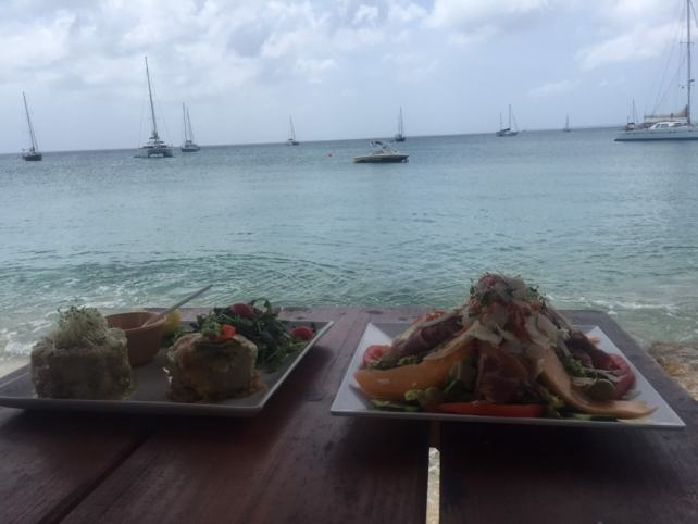 """Tartare sampler and a tropical salad, right on Grand Case beach. - """"Our Five Favorite Restaurants in St Martin"""" - Two Traveling Texans"""