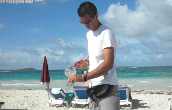 Real wine glasses on Orient Beach!
