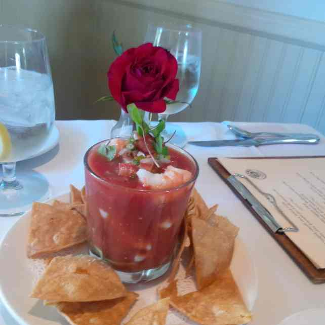 Shrimp cocktail at Chez Loma