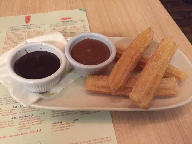 "For dessert - the churros with dipping sauces - ""Mexican Food Finds in London"" - Two Traveling Texans"
