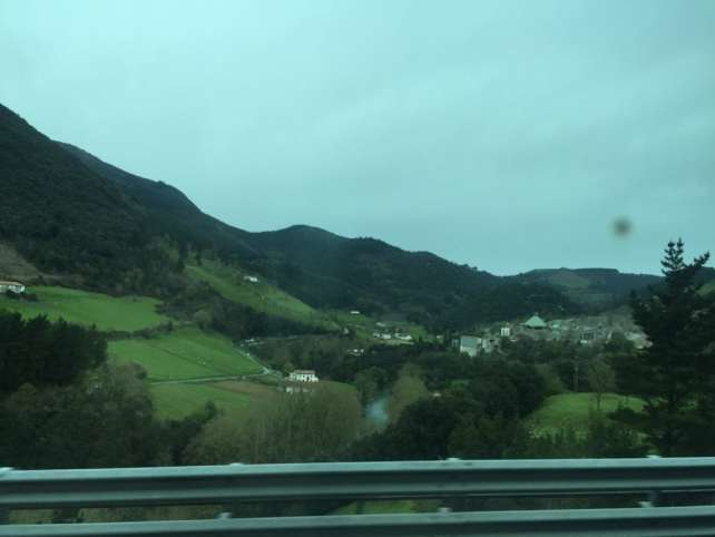 View of Basque Country from the bus on the way to San Sebastian.