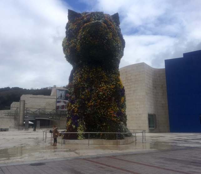 "The puppy flower topiary is huge! - ""One Day in Bilbao"" - Two Traveling Texans"
