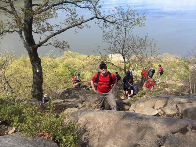 """Russell with the go pro and you can see the line of people behind him.... - """"Breakneck Ridge Trail Lives Up To Its Name"""" - Two Traveling Texans"""