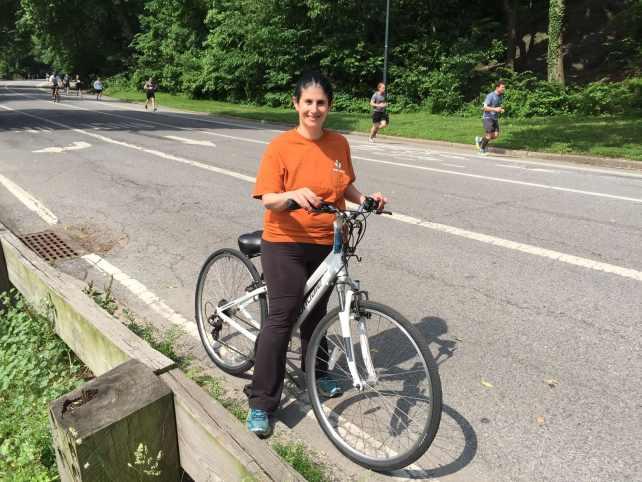 Anisa biking in Central Park.