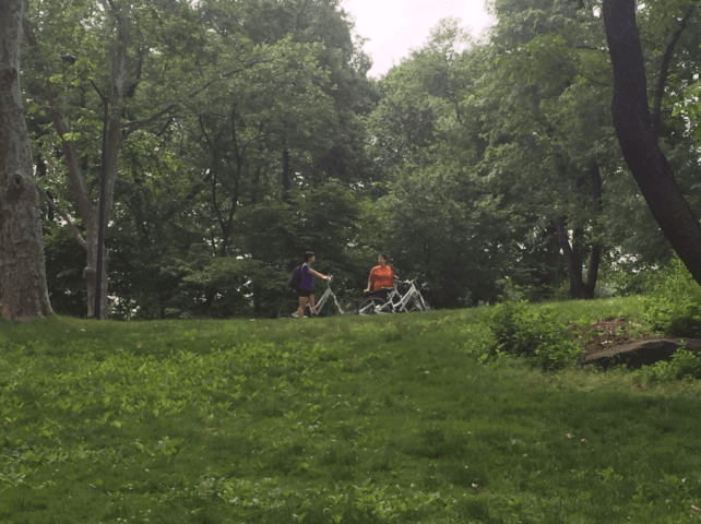 Taking a little break from biking in Central Park.