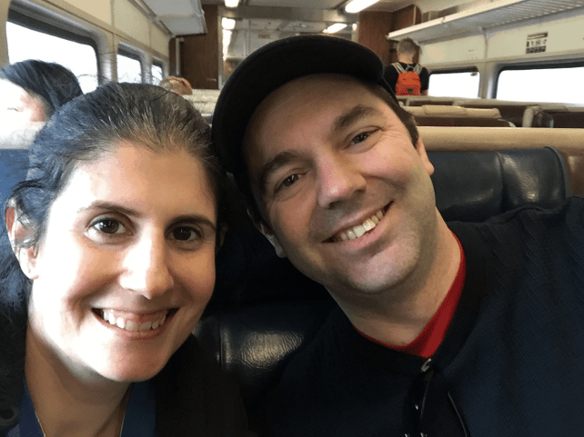 """All smiles on the train ride home from Breakneck Ridge, but let me tell you, we were exhausted! - """"Breakneck Ridge Lives Up To Its Name"""" - Two Traveling Texans"""