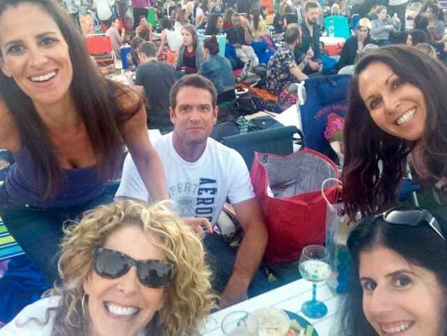 Selfie of the some of us picnicking at the Hollywood Forever Cemetery. Starting top left going clockwise - Laura, Sean, Kat, Anisa, and Beverly