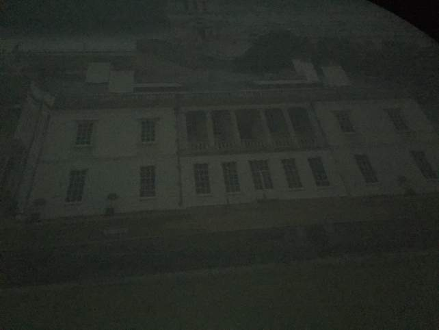 The image of the Queen's House from the Camera Obscura at the Greenwich Royal Observatory. It's like watching an old black and white video.