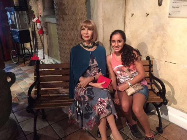 "Aanya with Anna Wintour, the famous editor of Vogue - ""Madame Tussauds NYC Ghostbusters Dimensions Experience"" - Two Traveling Texans"