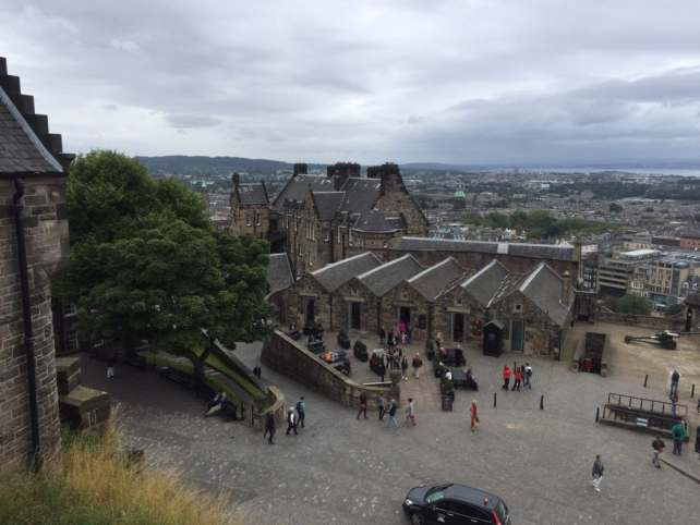 "View from the top of Edinburgh Castle with the city in the distance. - ""Experiencing History at Edinburgh Castle"" - Two Traveling Texans"