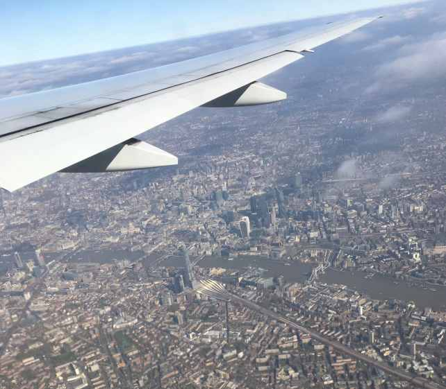 """I was able to get some great aerial shots of London thanks to my window seat and a clear day! - """"Neck Support Pillow and Other Travel Sleeping Tips"""" - Two Traveling Texans"""