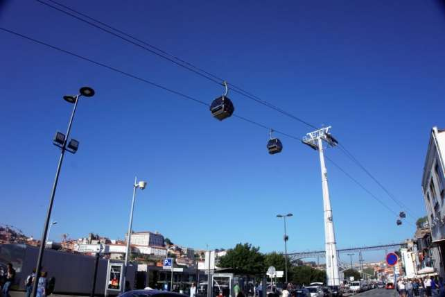 """Looking up at the cable cars from the ground. -""""Port House Visits and Cable Cars"""" - Two Traveling Texans"""