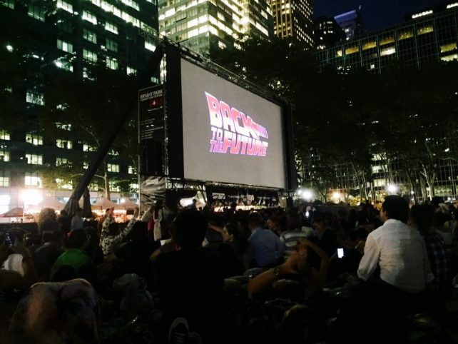 "Such good memories of watching my favorite movie, Back to the Future, in Bryant Park! - ""The Best Free Summer Events in NYC"" - Two Traveling Texans"