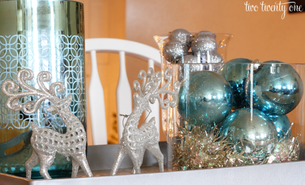 Silver Blue Christmas Centerpiece Two Twenty One