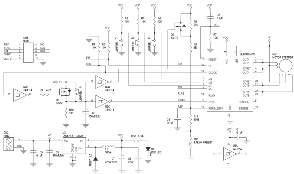 medium resolution of 3a unipolar stepper motor driver with micro stepping and auto half current using sla7078mpr 3