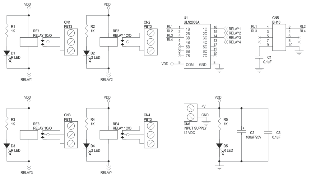 medium resolution of 4 channel large current relay board 2