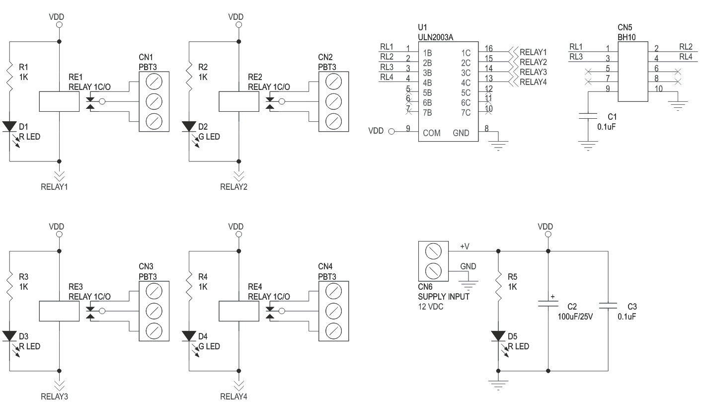 hight resolution of 4 channel relay board using uln2003 and box header for micro controller development boards