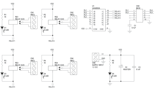 small resolution of 4 channel relay board using uln2003 and box header for micro controller development boards