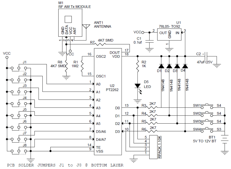 4 Channel RF Remote Controller With Receiver Using PTC2262