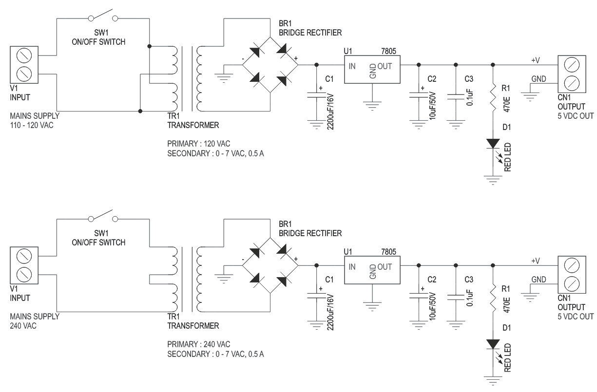 hight resolution of 5v 500ma regulated liniar power supply with on board transformer 3
