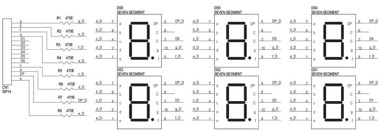 6 DIGIT 7 SEGMENT MULTIPLEX DSIPLAY MODULE SCHEMATIC