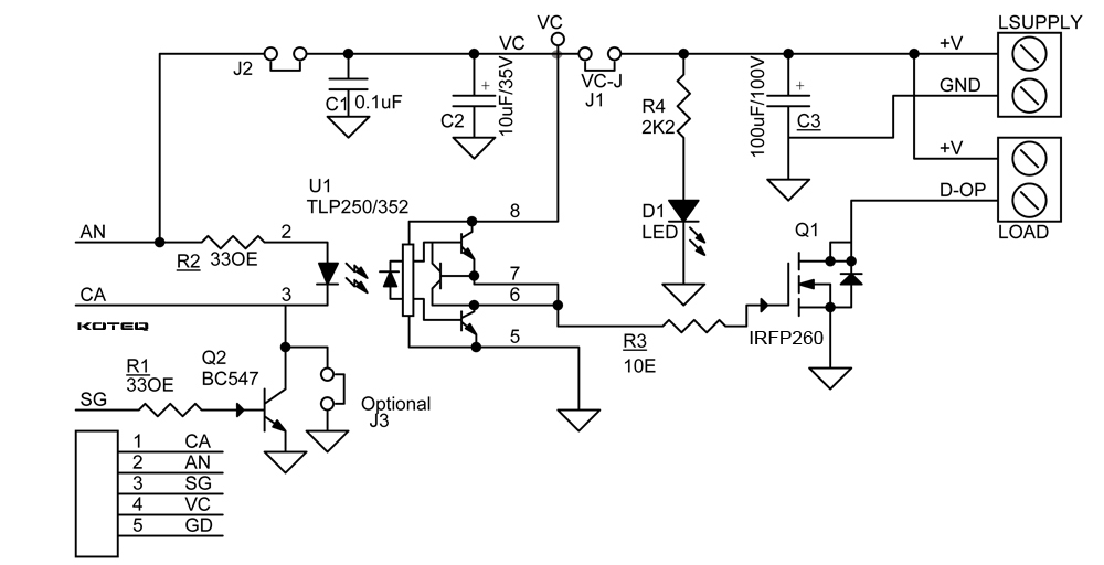 led light bar wiring diagram with relay 3 wire 220v dc solid state using mosfet & optically isolated gate driver - circuit ideas i projects ...