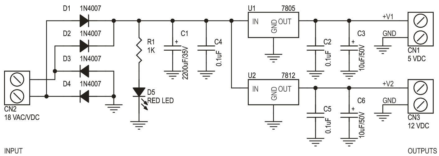 5V & 12V DC Dual Output Power Supply Using LM7805 & LM7812