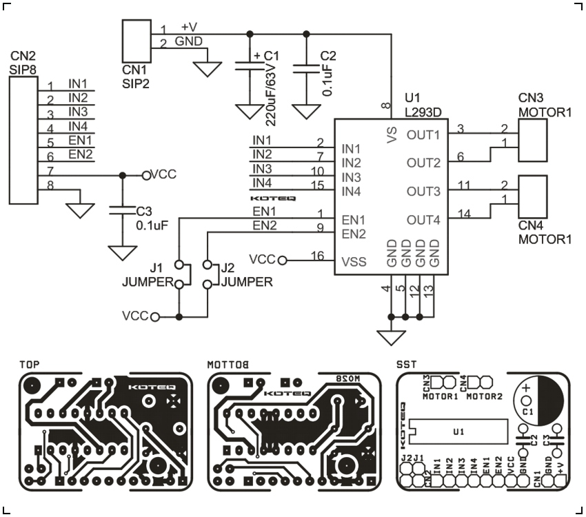 L293 Bidirectional Motor Driver