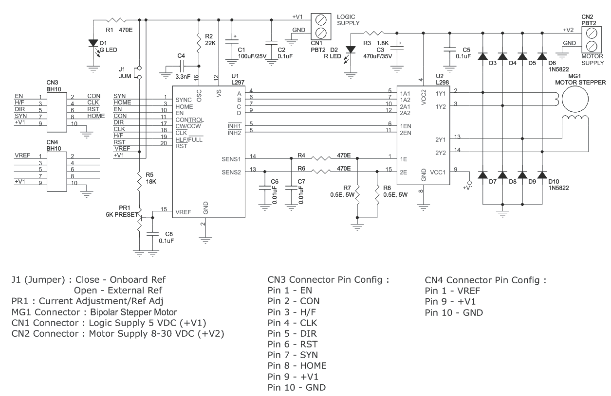 hight resolution of l298 l297 based high current bipolar stepper motor driver l298 circuit diagram also with bipolar stepper motor driver circuit