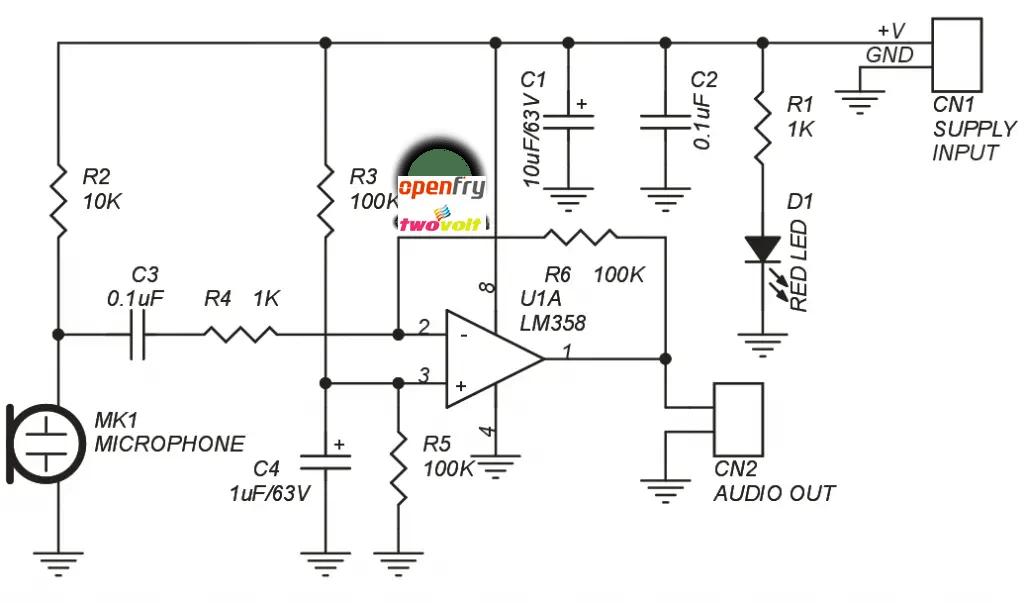balanced electret microphone circuit