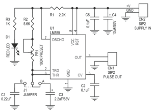 PULSE GENERATOR FOR STEPPER MOTOR DRIVER USING 555 TIMER